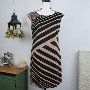 LOFT Dress Cap Sleeve Striped Print Shift Sz 4